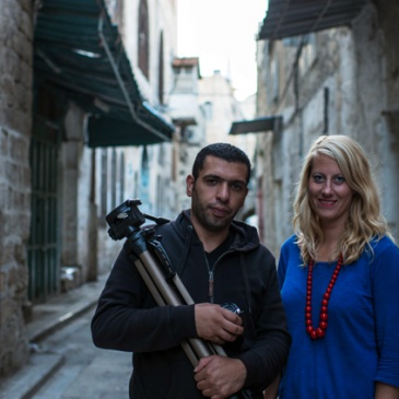 Film maker Mustafa Azizi and artist Christine Urdal in the Old City of Nablus