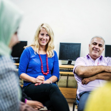 Urdal in charge for a photography workshop at An-najah university in Nablus. Next to her is Dr. Abed Sarhan. Photo : Mustafa Azizi